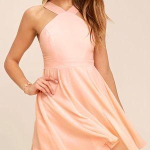 Lulus Like 🆕️ Peach Skater Dress Size S